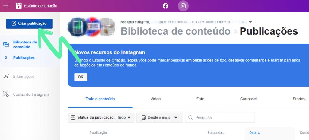 Estúdio de Criação: Como agendar post no Facebook e no Instagram 1