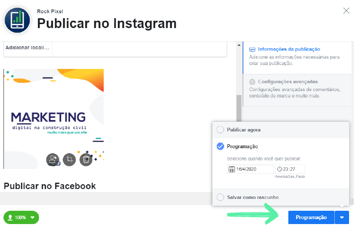 Estúdio de Criação: Como agendar post no Facebook e no Instagram 4