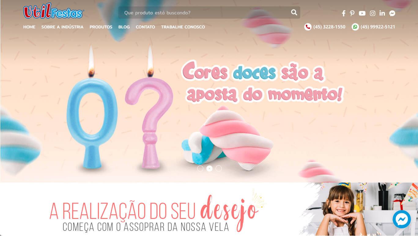 O novo site da Utilfestas prioriza a exibição das velas e dos demais produtos