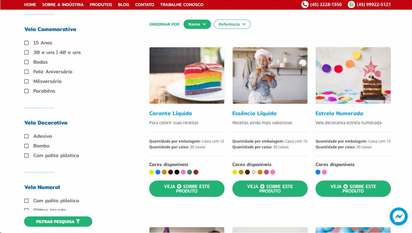 A página de produtos organiza por categorias, por nome e por referência